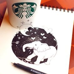 Blog: Starbucks Coffee Cup Doodles - Doodlers Anonymous. Doodles by Tokomo.