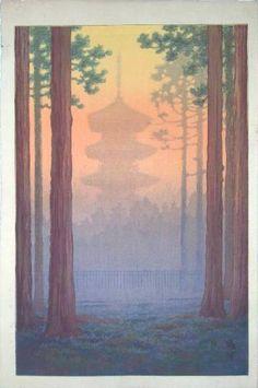 Pagoda at Nikko, Ito Yuhan, c. 1930's Ukiyo-e Gallery