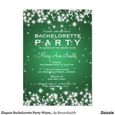 Elegant Bachelorette Party Winter Sparkle Green