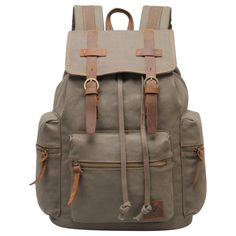 Eabag Unisex's Retro High Quality Canvas Backpack - Back to School (Army Green)