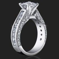 Best Selling Tiffany Style Princess Diamond Engagement Ring with Big Diamonds<br>$3300 #EngagementRings <3