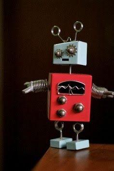Reg and aqua robot, love it Vintage Robots, Retro Robot, Arte Robot, I Robot, Recycled Robot, Recycled Art, Metal Animal, Found Object Art, Junk Art