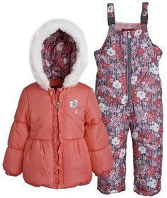 London Fog Baby Girls 2 Piece Winter Snowsuit Set: Warm Puffer Jacket and Pants #LondonFog