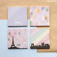 Paris Mini Sticky Notes Quad by Paperways   Fox and Star