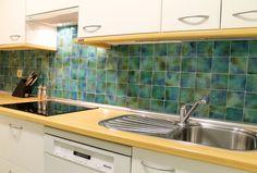 Handmade tile - kitchen splashback - decorative m2 turquoises