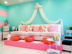Love this for a headboard. Candy colors are adorable, too.