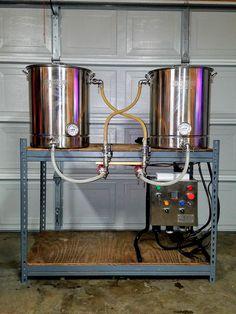 "way back in the ""old days"" to move to electric, and move indoors. Here is my Electric Basement Brewery Thanks to everyone at HBT. Beer Fridge, Home Brewing Equipment, Home Brewing Beer, Drink Dispenser, Heating Element, Craft Beer, Brewery, Homebrewing, Sculpture"