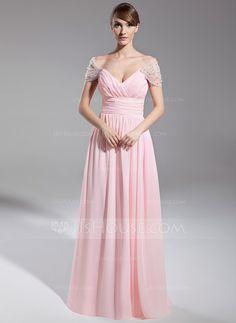 Evening Dresses - $139.99 - A-Line/Princess Off-the-Shoulder Floor-Length Chiffon Tulle Evening Dress With Ruffle Beading (008014708) http://jjshouse.com/A-Line-Princess-Off-The-Shoulder-Floor-Length-Chiffon-Tulle-Evening-Dress-With-Ruffle-Beading-008014708-g14708?snsref=pt&utm_content=pt
