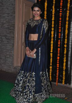 '#Bollywood' Actor Prachi Desai #Gorgeous curvaceous in am apt Midnight Blue #Lehenga. at Ekta Kapoor's 2014 Diwali Party (Pic: Varinder Chawla)