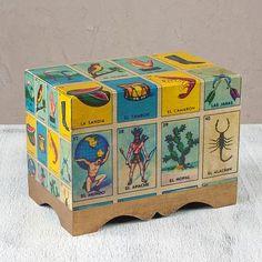 Decoupage chest, 'Loteria' (large) - Collectible Loteria Folk Art Decorative Box (Large) (image 2)