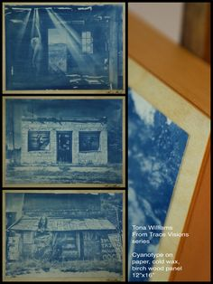 """From my """"Trace Visions"""" series - cyanotypes layered with oil pigment and cold wax, mounted on birch wood panels. Cyanotype monoprinting is a historical process that exposes a solution of iron salts to UV light, fusing the design into the printing surface. Cyanotype, Design Development, Salts, Wood Paneling, Art Images, Birch, Custom Design, Wax, Surface"""