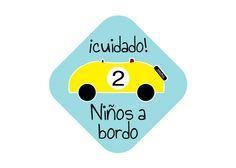 cuidado 2 niños a bordo. Original y bonita pegatina para el coche kids on board stickers