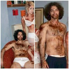 I can't believe I came across this on Twitter!!! I've never seen these before. Aidan behind the scenes on being human. He looks terrible though just look at him!!! His hair is a disaster, not to mention those underwear too lol!!!
