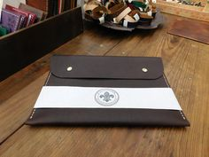Custom Cajun Leather Works Brown Slip  Ipad Case / Mini Ipad Case Kodiak 4/5 Ounce Leather EDC Bushcraft by CajunLeatherWorks on Etsy
