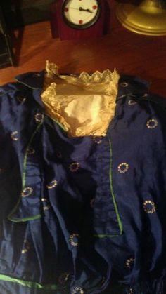 Antique 1912 Edwardian Indigo Blue Silk Titanic Dress Halloween Downton Abby S