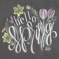Hello Spring Chalkboard Print by SheSheDesign on Etsy . Chalkboard Art Quotes, Blackboard Art, Chalkboard Decor, Chalkboard Drawings, Chalkboard Print, Chalkboard Lettering, Chalkboard Designs, Chalk Drawings, Lily And Val