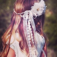 A floral wreath for a flower girl- love the lace ribbon detail. Delightful! #floralcrown #wedding #flowergirl