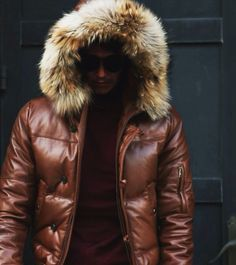 0e0f6befbc8 Mens Leather Jacket a Hooded Puffy style with Real Fur Trim