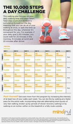 Walk 10,000 Steps a Day.   Getting healthier means moving more, and walking is one of the easiest ways to do that. This walking challenge will have you taking 10,000 steps a day—the magic number for optimal health—in just four weeks.