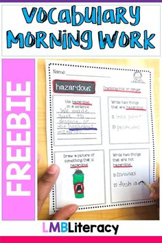 This is a FREE sample of my Vocabulary Morning Work Set. This set is designed for a quick vocabulary practice to help expand, reteach, or introduce new words. This product is Common Core aligned and is created for 4th, 5th, and 6th graders. However, could be used at different levels depending on ability. Help students study vocabulary in a fun and engaging way! Free sample includes 2 school weeks of practice. #vocabulary #morningwork #free #teacherspayteachersfreebie
