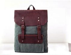 Leather canvas style backpack school canvas backpack by Korekbest