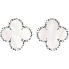 VAN CLEEF & ARPELS Vintage Alhambra gold and mother-of-pearl earrings (290.420 RUB) ❤ liked on Polyvore featuring jewelry, earrings, vintage gold earrings, white gold jewelry, gold clip earrings, vintage jewelry and vintage earrings