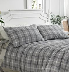 Aspen Grey Check Brushed Cotton Duvet Cover Set