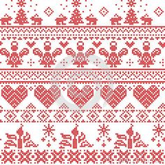 Cross Stitch Borders Scandinavian Nordic Christmas seamless cross stitch pattern with angels, Xmas trees, rabbits, snowflakes, candles in white and red - Cross Stitch Borders, Cross Stitching, Cross Stitch Embroidery, Embroidery Patterns, Cross Stitch Patterns, Knitted Christmas Stockings, Christmas Knitting, Nordic Christmas, Christmas Cross