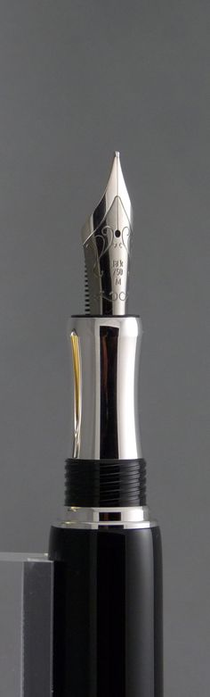 Close up of our two toned rhodium 18K nib.