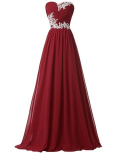 Strapless Long Evening Dresses with Appliques (Multi-Colored) | Dark Red