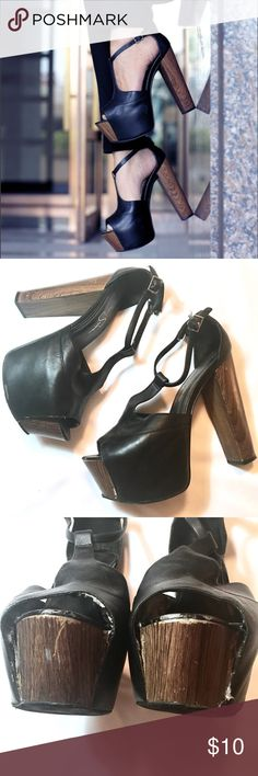 "🆕 Jessica Simpson Dany Wood and Leather Heels Heavily used. Needs to be glued in two spots (photos 3 & 4).   🎀Measurements🎀      Heel height 5.5""                         No Trades, No Holds                     🛍Bundle for a discount.            Offers welcome, everything must go                            by May 2017!💕 Jessica Simpson Shoes Heels"