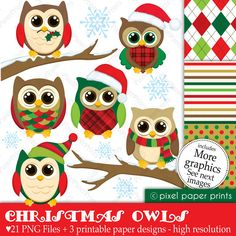 Christmas Clip Art - Christmas owls