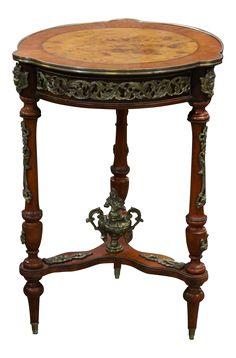 Genial Vintage French Louis XVI Regal Empire Style Ornate Brass Ormolu Walnut Side  Table