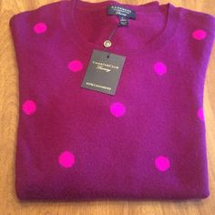 Dark purple/raspberry dots. 100% Cashmere sweater. Charter club 100% cashmere sweater. Never worn. FINAL MARKDOWN. Charter Club Sweaters Crew & Scoop Necks