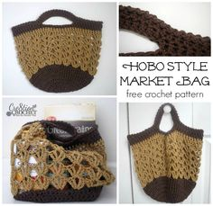 Ravelry: Hobo Style Market Bag pattern by Lorene Haythorn Eppolite- Crochet Free Crochet Bag, Crochet Market Bag, Crochet Tote, Crochet Purses, Filet Crochet, Knit Or Crochet, Crochet Crafts, Crochet Projects, Diy Crafts