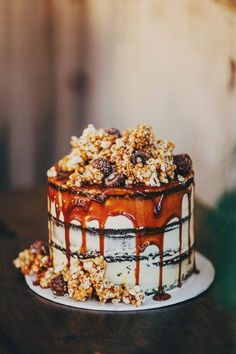 layered chocolate mud cake with salted caramel and popcorn