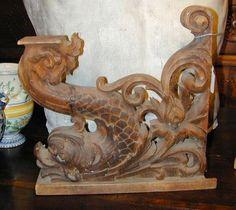 Pair Carved Wood Dolphin Brackets Italian 19th Century