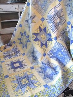 Sunshine stars - I've always loved blue and yellow quilts