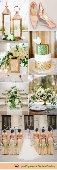 Fresh Gold and Green Wedding Inspiration - love this combo