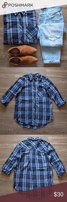 "LUCKY BRAND Flannel! Beautiful blue Lucky Brand flannel! Features sleeves that can be rolled up and buttoned in place or worn long. Perfect flannel for layering and the start of fall!         • Size S                                                                                     • Like New!                                                                               • Length in front 27"" Length in back 28.5"" Arm length 22.5"" Lucky Brand Tops Button Down Shirts"