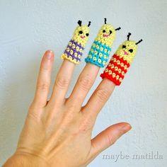 Maybe Matilda: Bug Buddies Crochet Finger Puppets Crochet Amigurumi, Crochet Yarn, Crochet Toys, Free Crochet, Crochet Crafts, Yarn Crafts, Crochet Projects, Crochet For Kids, Learn To Crochet