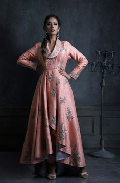 830477a23e ethnic dress · Baby pink long jacket outfit from Veer Design Studio. Click  on image for price.