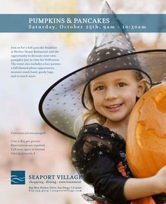 New event alert at Seaport Village! Pumpkins and Pancakes debuts on Oct. 25th.  Spots are limited so call to reserve! Details here: bit.ly/WckFCX