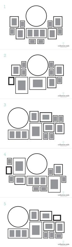 picture wall layout around round mirror or clock