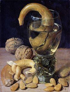 Still life with Pretzels, Nuts and Almonds, 1637 by Georg Flegel Dutch Still Life, Still Life Art, Hans Von Aachen, Fruit Défendu, Baroque Art, Food Painting, Museum, Mystique, Vanitas