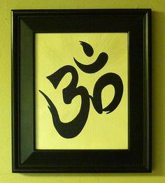 OM, Yoga Zen Buddhist Symbol for Meditation, 8X10 wall Art, Home Decor, Feng Shui , Handpainted