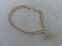 VINTAGE 18k GOLD CHARM BRACELET W 14K GOLD DIAMOND TRICYCLE CHARM