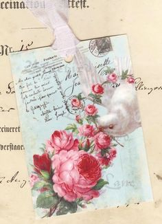 Romantic French Bird and Roses Favor Gift Tags on Etsy, $6.00