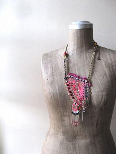 Ethnic Beaded Necklace Vintage Indian Fiber by AllThingsPretty, $85.00