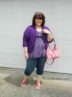 DivineMrsDiva.com - Torrid tank and sandals, SWAK Designs Amber Shrug, Embellished denim capris from Lane Bryant, Coach handbag